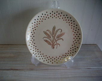 Homer Laughlin China Golden Wheat Pattern Plate, Homer Laughlin Vintage China Plate, Fleur de Lis Wheat Plate, 1950s Homer Laughlin China