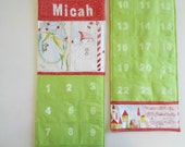 READY TO SHIP /Personalized Christmas Advent Calendar /  Christmas Countdown Calendar with Pockets in Joy and Wonder Cori Dantini Fabrics