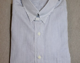 vintage 80's -Style Craft- Men's tab collar dress shirt. 'New Old Stock'. Blue pin stripe on White - All Cotton. Made in USA. 15 1/2 - 34