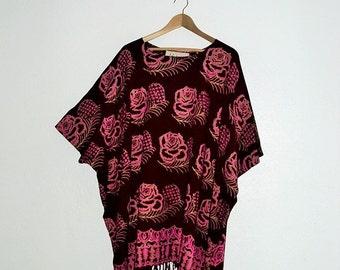 Sale Hippie Floral-Print Caftan Fringe trim Free Size Ethical Fashion