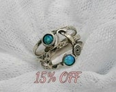 Opal ring. Sterling silver ring. Silver opal ring. Wide silver ring. Open work opal ring. (sr-9912). opal jewelry