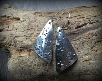Starry Night - Bold Sterling Silver Triangle Earrings
