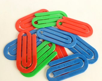 Oversize Plastic Paper Clips Lot Aquarius Clip in Red, Blue and Green
