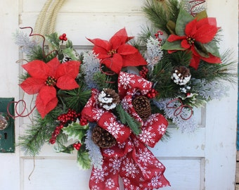 Rustic Rope Christmas Wreath with red snowflake burlap bow and poinsettias  - Lasso Christmas Wreath - Cowboy Christmas  Western Wreath eS11