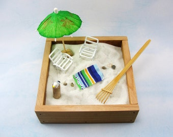miniature zen beach garden kit, miniature white beach chairs, beach towel, seagull