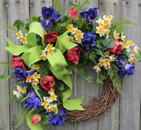 Spring wreath, Wreath, Spring, Spring Tulip Wreath, Door Wreath, Tulip Wreath, Mothers Day, Mother's Day Gift, tulips, Etsy, Horn's Handmade