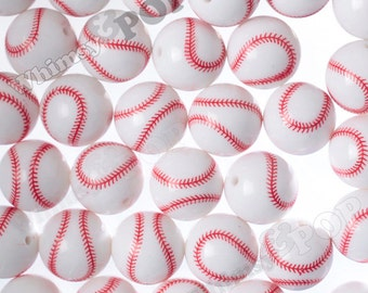 20mm - White Baseball Gumball Beads, 20mm Sports Beads, 20mm Gumball Beads, Chunky Beads, Bubble Gum Beads, Bubblegum Beads, 2MM Hole