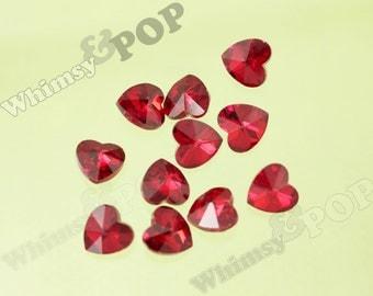 Cherry Red Glass Heart Loose Gemstone Rhinestones, Multi-Faceted Rhinestones, Heart Rhinestone, Red Heart Gems, 15mm  (R8-101)