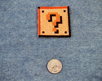 Super Mario Bros. Question Block Cross-Stitched Iron On Patch
