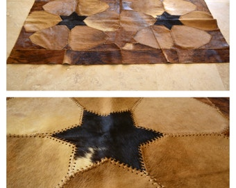 Vintage Argentina Patchwork Cow Skin Area Rug Handmade South American Animal Fur Genuine Leather Floor Rug Wall Hanging Flowers Stars Goat