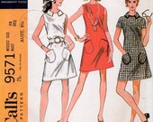 1960s A Line Mini Dress Pattern McCall's 9571 Vintage Sewing Pattern Mod Dress with Collar and Pockets Bust 32.5