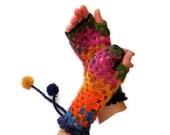 Rainbow Hand-Knitted Fingerless Gloves Winter Accessories Womens Gloves Gifts Accessories gift , valentines day /// senoaccessory