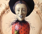SALE PENDING_ BUY Only if you are FRAN Folk Art WitchHalloween Primitive Vintage Style doll sculpture character Hafair Penny Grotz