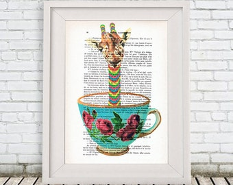 Giraffe Print, giraffe in teacup, Digital Illustration, giraffe Art, teacup Poster, giraffe artwork, teacup art, Alice in Wonderland