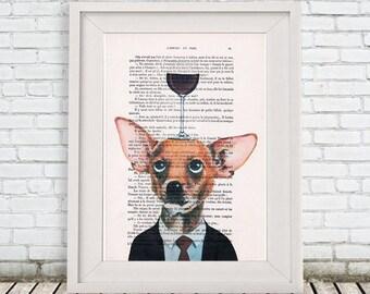 Chihuahua Print: Art Poster Digital Art Original Illustration Giclee Print Wall Hanging Wall Decor Animal Painting,Chihuahua with wineglass