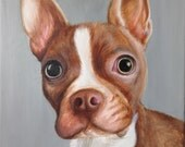 11x14 custom dog portrait on canvas from photo oil and acrylic original Boston terrier art valentine's day gift