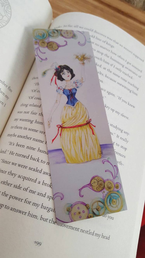 Steampunk Snow White Bookmark, Fairytale Princess, 2x6, FREE SHIPPING