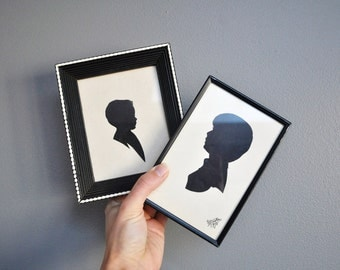 Pair of Vintage Silhouette Portraits - Young Boy Silhouette