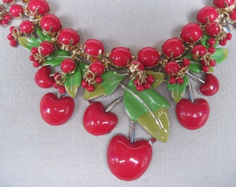 Wonderful n Bold Luscious Red Cherry Necklace