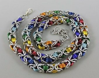 Rainbow Chainmail Necklace, Chainmaille Necklace, Byzantine Weave Chain Mail Jewelry, Gay Pride Necklace, LGBT Jewelry