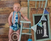 Baby Boys First Birthday Cake Smash Diaper Cover Tie and Party Hat Outfit in Turquoise Mint Dot