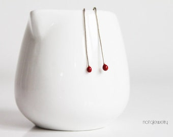 Red sterling silver earrings, Little rted earrings, Red silver drop earrings, Minimal earrings, Minimalist earrings, Contemporary earrings
