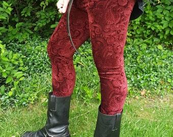 Men's Embossed Paisley Velvet Leggings - pick your color/ pick your size