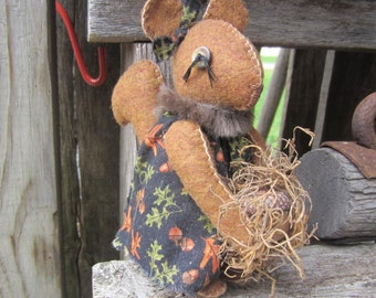 SQUIRREL DOLL~  Made To Order~ Fabric Doll~ Squirrel
