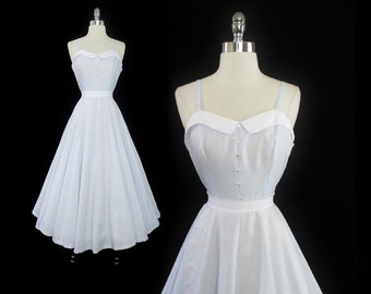 Vintage 80's  / 50's Look Ice Blue Full Skirt Tea Party Dress M