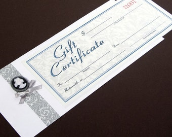 GIFT CERTIFICATE LISTING. (One 5x7 or 8x8 silhouette and frame of your choice.)