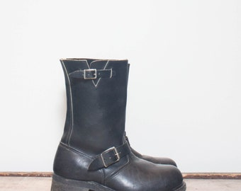 8 Wide | Men's Vintage Engineer Boots Black Leather Motorcycle Boots with Steel Toes