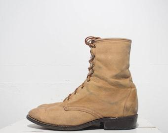 9 1/2 EE | Men's Vintage Lace Up Roper Boot in Golden Brown