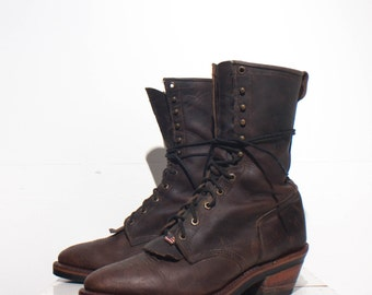 11.5 EE | Vintage Chippewa Lace Up Boots Ankle Styled Packer Boot in Brown Leather