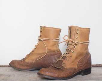 7 D | Vintage Justin Lace Up Ropers Two Tone Bull Hide Ankle Boots
