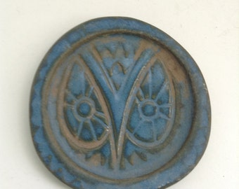 Vintage OWL Coaster.  Head ONLY Ceramic figure. 1960's.  Mod Kitsch.  Pacific Stoneware, People Lovers.  Oregon Pottery.