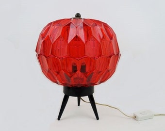 Mid Century Big Table Lamp with Red Plastic Gemstone Looking Shade and Black Tripod Foot