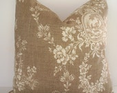 French Country Toile Pillow Waverly Floral Tan Waverly Country House Toile Linen BOTH SIDES