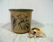 Vintage Pottery SeaShells & Sun Jar Signed by Potter Barbara Dezmelyk - MidCentury Hand Crafted Pottery Artisan Pot with Blue Glaze Drawings