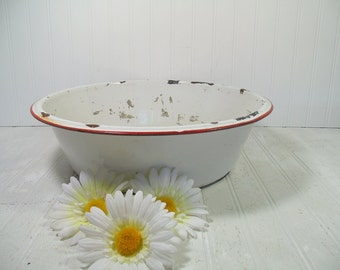 Very Large Antique Red on White EnamelWare Round Metal Basin - Vintage Oversized Bowl - FarmHouse Chippy Paint Decor - Will Not Hold Water