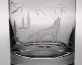 Wolf Double Old Fashion Glass, 12oz Glass, etched (Sandblasted), Original Design