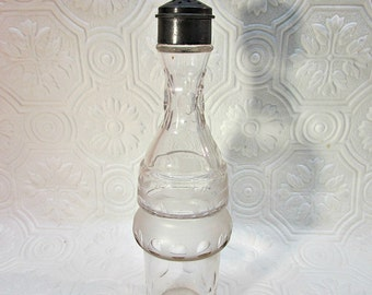 "Castor set shaker bottle only etched crystal 7.5"" tall Replacement"