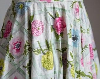 1950s Summer garden cotton skirt