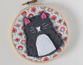 """4"""" Grey & White Cat Embroidery Hoop Ornament"""