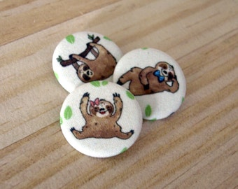 Sloth Fabric Pinback Button Set - Cute sloths leaves animal