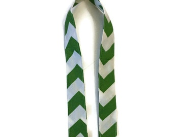 TOP of Lanyard regular length green and white chevron cotton fabric with gold tone hardware