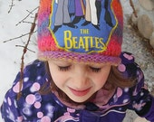 BEATLES KIDS BEANIE,  Get Down Upcycled Winter Hat,  ooak, Toddlers or Kids, Yellow Submarine, ready to ship, Free gift wrap option