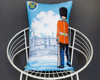 London Cushion Royal Pillow -Bearskin Soldier -Buckingham Palace -Kids pillow -blue cushion -British vintage -Upcycled decor Large pillow
