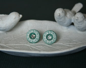 Shabby Chic earrings Turquoise floral earrings - made from upcycled buttons and small gems