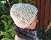 White Alpaca Hat, Alpaca Beanie, Women's Winter Hat, Hand Knit Beanie in Marshmallow