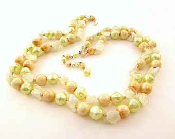 Double Strand Necklace with Yellow Beads and White Plastic Flowers - Mid Century - Hong Kong